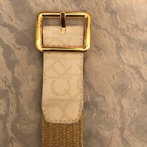 "Calvin Klein Belt - 37"" - White / Tan"